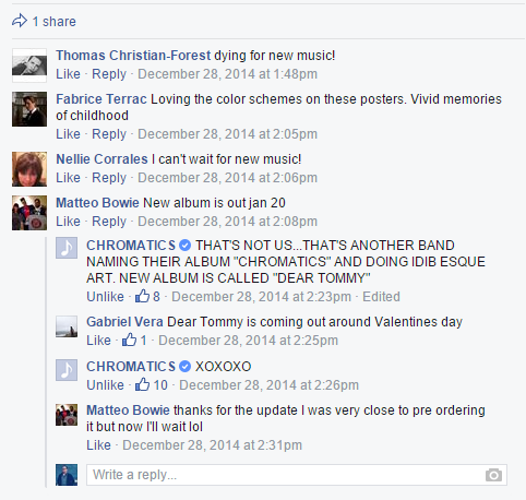 Screenshot of Chromatics' Facebook page that clarifies the confusion surrounding Dear Tommy, the band's forthcoming new album. It will be released in February on Italians Do It Better.